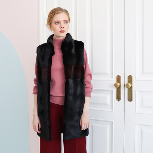 [30% SALE] TWO-TONE MINK VEST