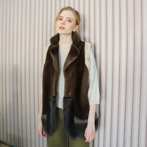 MINK&RACCON COLOR MIX TAILORED VEST