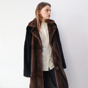 MINK COMBI TAILORED LONG COAT_BROWN
