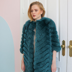 FOX CHEVRON COAT_TEAL BLUE