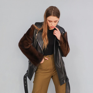 [20% SALE] FUR SLV LEATHER BIKER JACKET