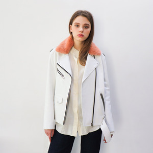 LEATHER BIKER JACKET_WHITE (퍼카라-추가옵션)